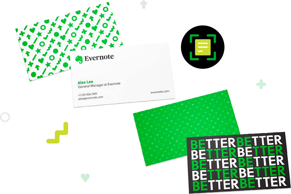 Images of business cards, illustrating Evernote app's business card scanning capabilities