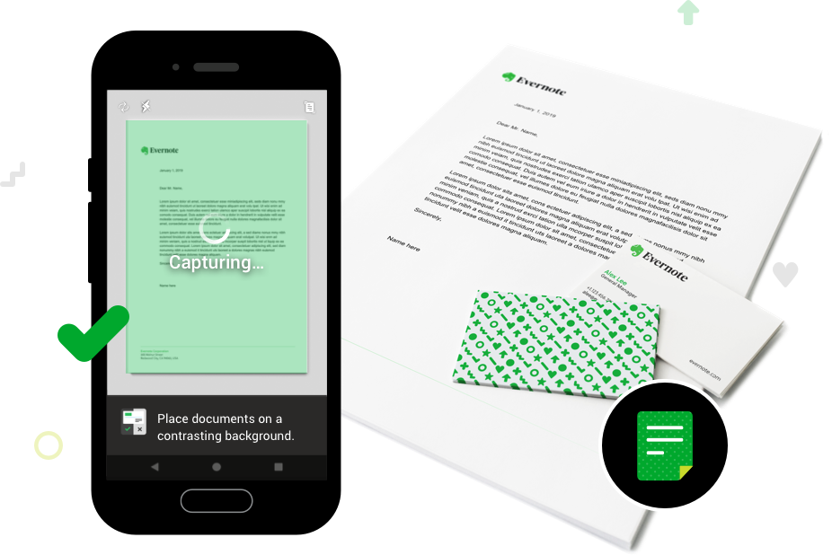 Image of paper document and screenshot of Evernote document scanning feature