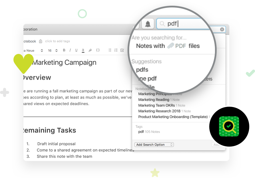 Screenshot image, depicting Evernote PDF search capabilities