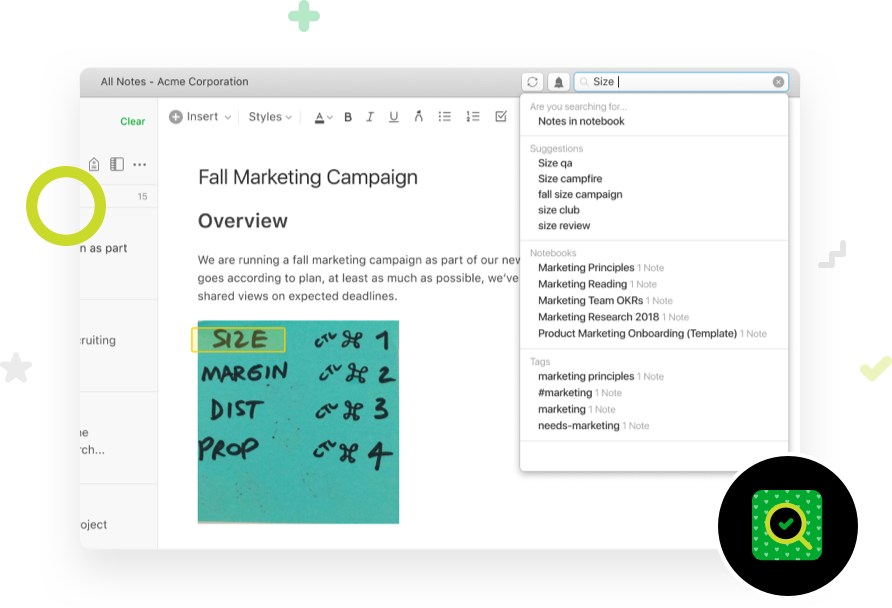 Screenshot image, depicting Evernote capability to search saved images and images within notes for handwritten text